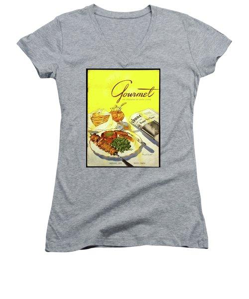 Gourmet Cover Illustration Of Grilled Breakfast Women's V-Neck