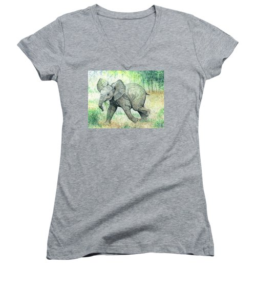 Women's V-Neck T-Shirt (Junior Cut) featuring the painting Grabbing A Snack by Barbara Jewell