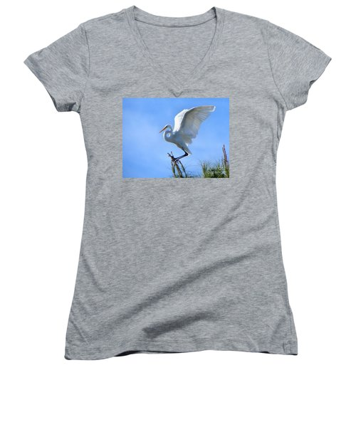 Women's V-Neck T-Shirt (Junior Cut) featuring the photograph Graceful Landing by Deb Halloran