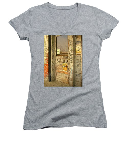 Graffiti Door - Ground Zero Blues Club Ms Delta Women's V-Neck (Athletic Fit)