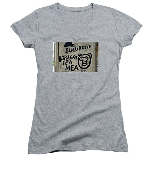Women's V-Neck T-Shirt (Junior Cut) featuring the photograph Graffiti On Street From Bucharest Romania by Imran Ahmed