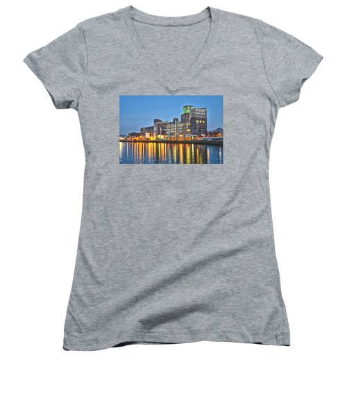 Grain Silo Rotterdam Women's V-Neck T-Shirt (Junior Cut) by Frans Blok