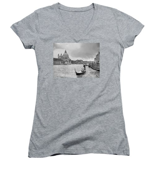 Women's V-Neck T-Shirt (Junior Cut) featuring the painting Grand Canal Venice Italy by Georgi Dimitrov