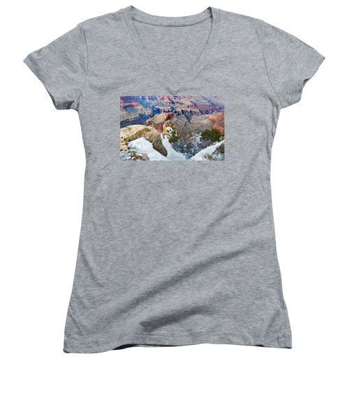 Women's V-Neck featuring the photograph Grand Canyon In February by Mae Wertz