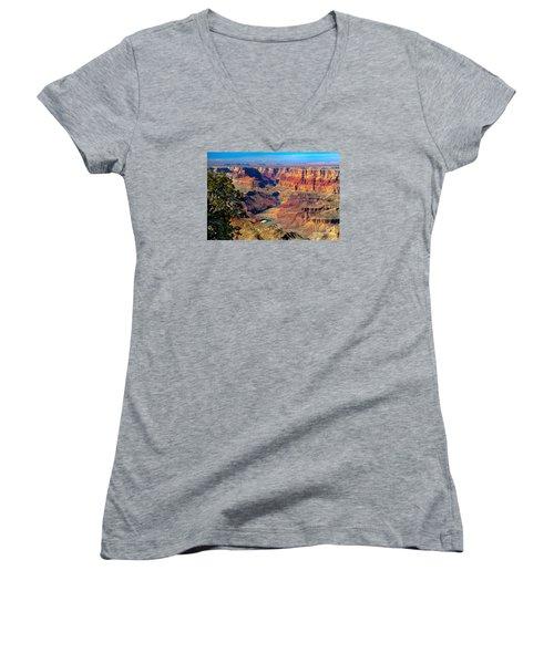 Grand Canyon Sunset Women's V-Neck T-Shirt (Junior Cut) by Robert Bales