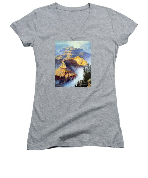 Women's V-Neck T-Shirt (Junior Cut) featuring the painting Grand Canyon View by Lee Piper
