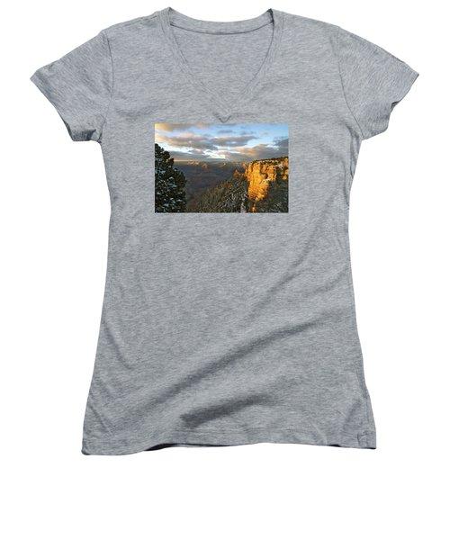 Grand Canyon. Winter Sunset Women's V-Neck T-Shirt (Junior Cut) by Ben and Raisa Gertsberg