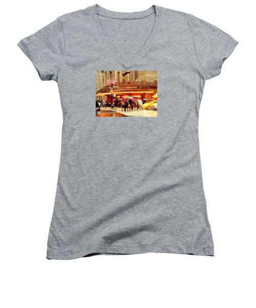 Grand Central Station In The Rain - New York Women's V-Neck T-Shirt (Junior Cut) by Miriam Danar