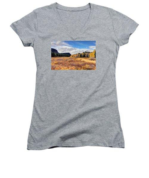 Grand Mesa Colors Women's V-Neck T-Shirt (Junior Cut) by Bob Hislop