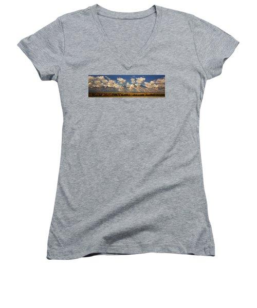 Women's V-Neck T-Shirt (Junior Cut) featuring the photograph Grand Tetons by Sonya Lang