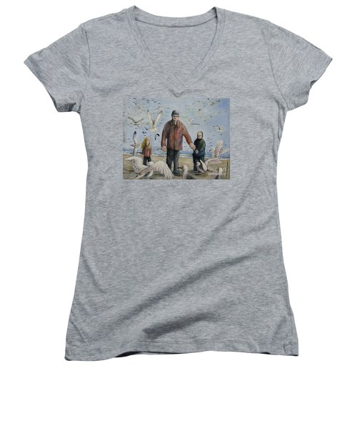 Grandfather Brother And Sister Women's V-Neck (Athletic Fit)