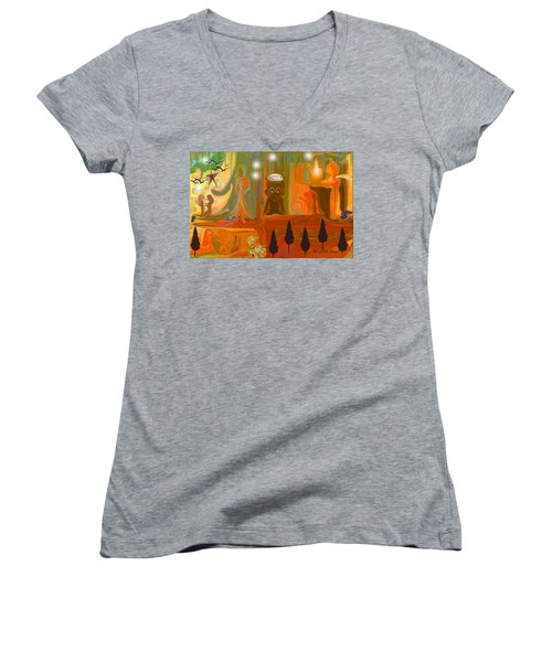 Women's V-Neck T-Shirt (Junior Cut) featuring the painting Grandpas House For His Little Peeps by Sherri  Of Palm Springs