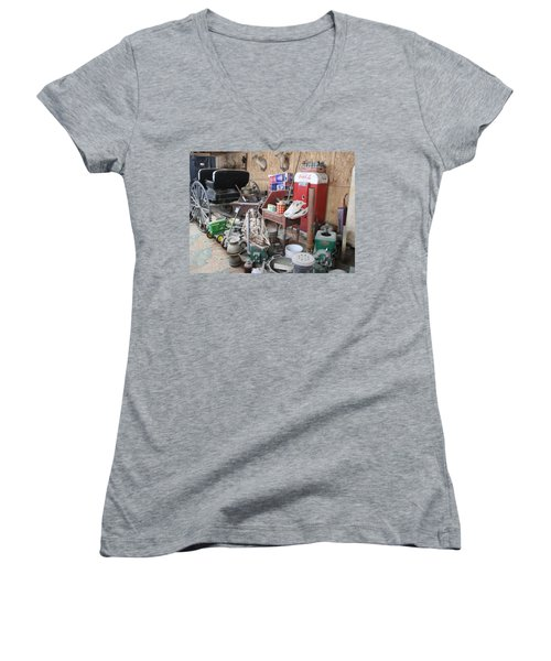 Grandpop's Garage Women's V-Neck T-Shirt (Junior Cut) by Judith Morris