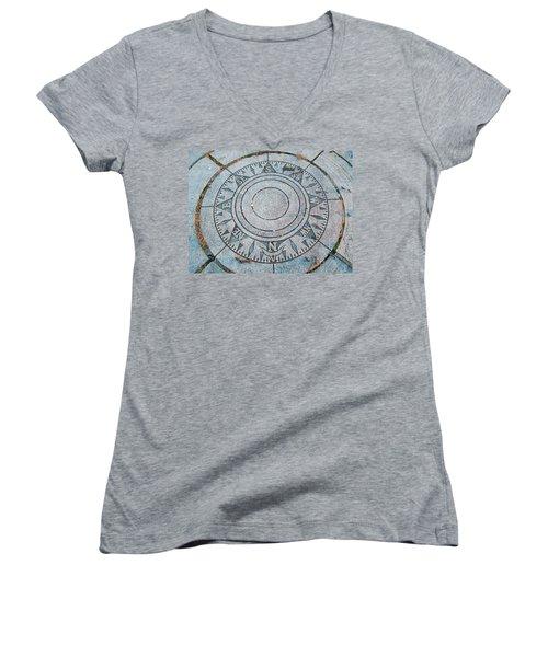 Granite Compass Women's V-Neck T-Shirt (Junior Cut) by Barbara McDevitt