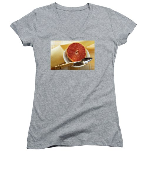 Grapefruit Half With Grapefruit Spoon In A Bowl Women's V-Neck T-Shirt