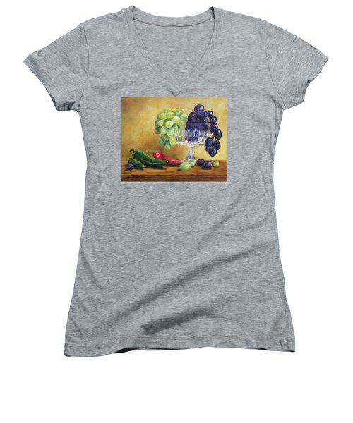 Grapes And Jalapenos Women's V-Neck T-Shirt