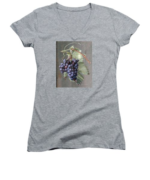 Grapes Women's V-Neck T-Shirt (Junior Cut) by Enzie Shahmiri