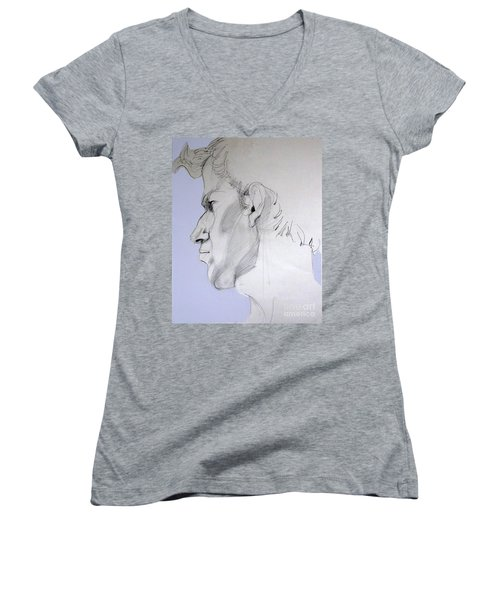 Women's V-Neck T-Shirt (Junior Cut) featuring the drawing Graphite Portrait Sketch Of A Young Man In Profile by Greta Corens
