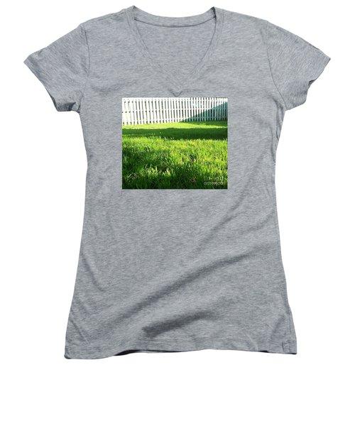 Grass Shadows Women's V-Neck T-Shirt (Junior Cut) by Susan Williams