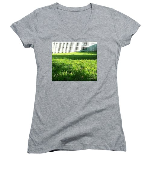 Grass Shadows Women's V-Neck (Athletic Fit)