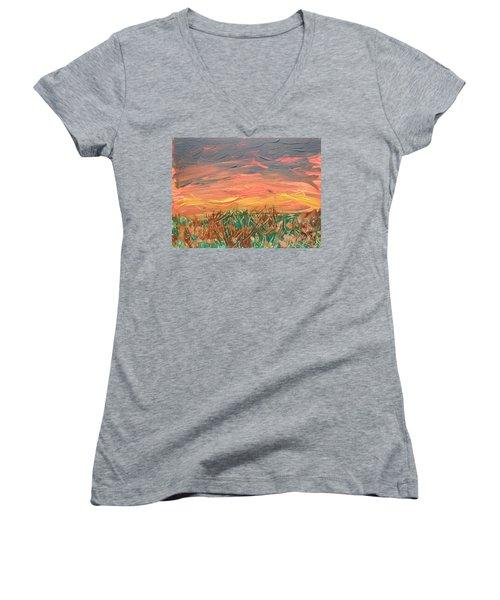 Grassland Sunset Women's V-Neck T-Shirt