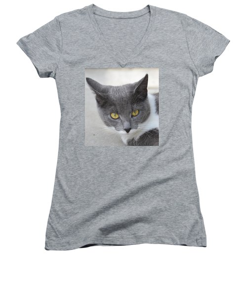 Gray Cat - Listening Women's V-Neck (Athletic Fit)