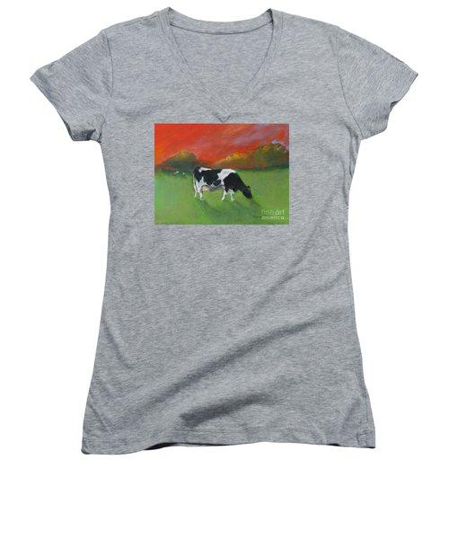Grazing Cow Women's V-Neck T-Shirt (Junior Cut) by Robin Maria Pedrero