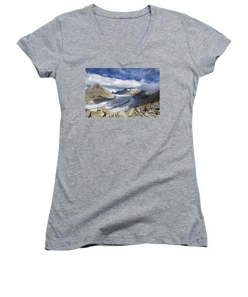 Great Aletsch Glacier Swiss Alps Switzerland Europe Women's V-Neck T-Shirt (Junior Cut) by Matthias Hauser
