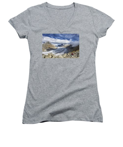 Great Aletsch Glacier Swiss Alps Switzerland Europe Women's V-Neck T-Shirt
