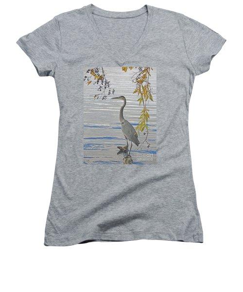 Great Blue Heron Women's V-Neck T-Shirt (Junior Cut) by Ann Horn