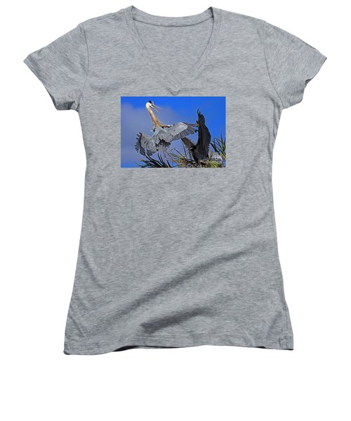 Great Blue Heron Fight  Women's V-Neck (Athletic Fit)