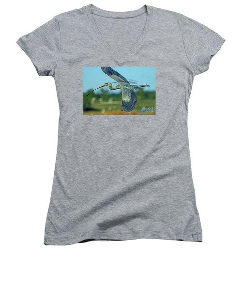 Great Blue Heron Flight 2 Women's V-Neck (Athletic Fit)