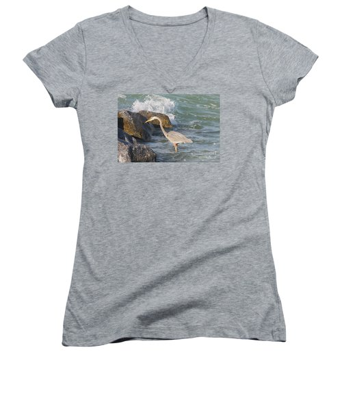 Women's V-Neck T-Shirt (Junior Cut) featuring the photograph Great Blue Heron On The Prey by Christiane Schulze Art And Photography
