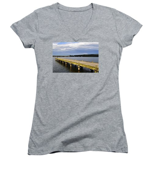 Great Blue Heron Sunning On The Dock Women's V-Neck T-Shirt (Junior Cut) by Verana Stark