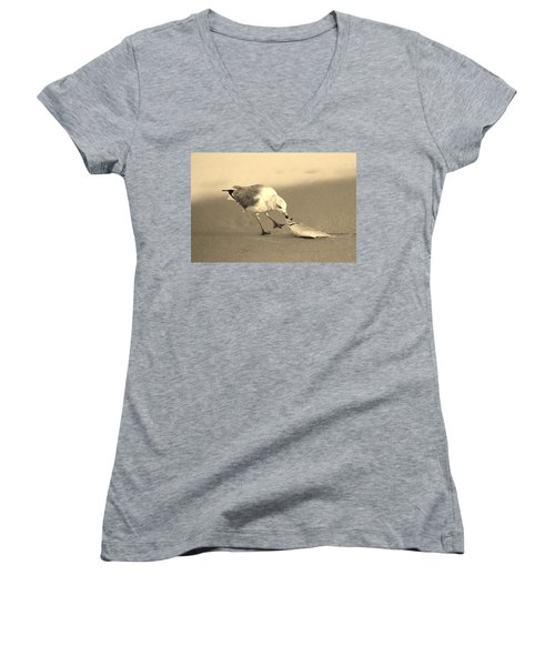 Women's V-Neck T-Shirt (Junior Cut) featuring the photograph Great Catch With Fish by Cynthia Guinn