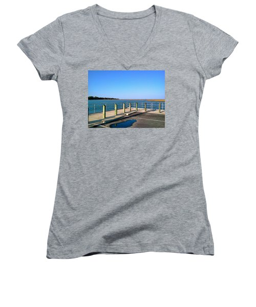 Great Day For Fishing In The Marsh Women's V-Neck T-Shirt (Junior Cut) by Amazing Photographs AKA Christian Wilson