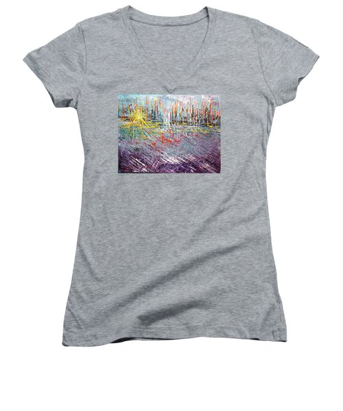 Great Day In Chicago - Sold Women's V-Neck T-Shirt (Junior Cut) by George Riney