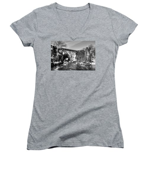 Great Falls In The Winter Women's V-Neck