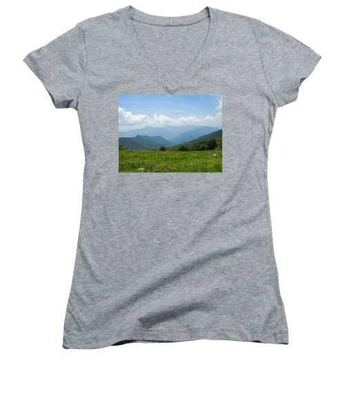 Great Smoky Mountains Women's V-Neck T-Shirt (Junior Cut) by Melinda Fawver
