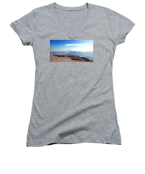 Women's V-Neck T-Shirt (Junior Cut) featuring the photograph Great Wall Of China - Mutianyu by Yew Kwang