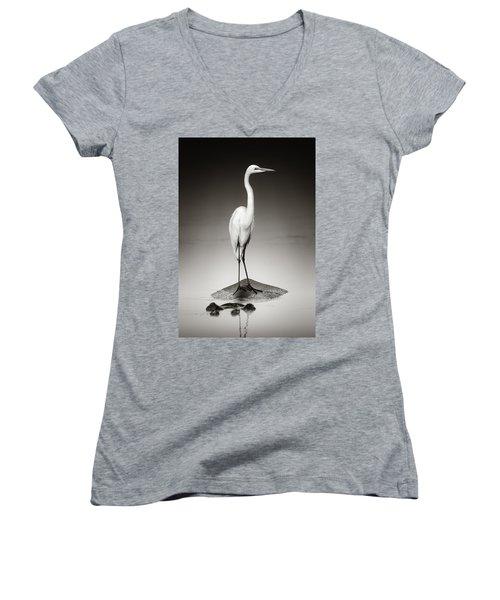 Great White Egret On Hippo Women's V-Neck T-Shirt (Junior Cut) by Johan Swanepoel