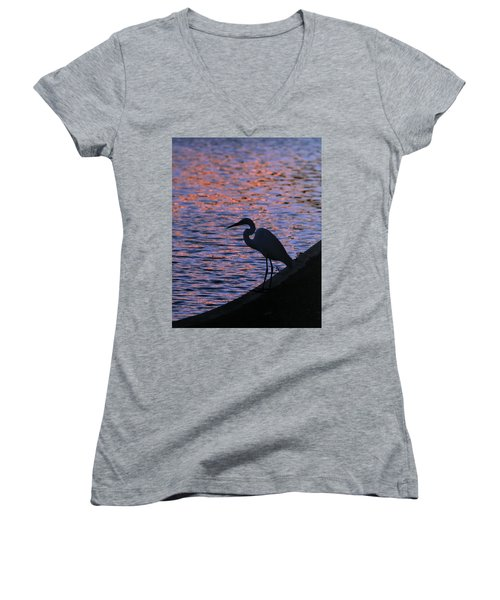Great White Egret Silhouette  Women's V-Neck