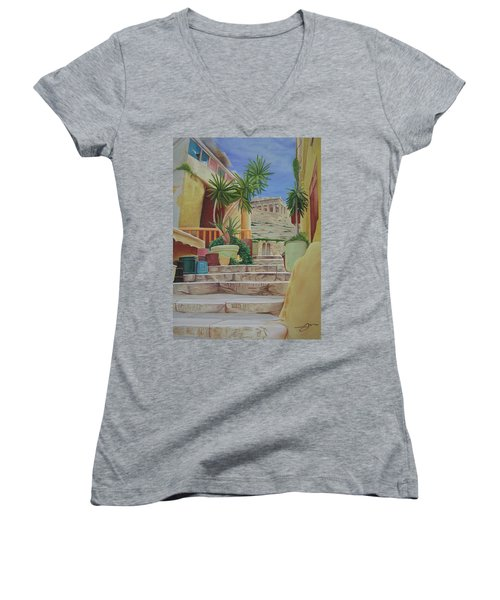 Women's V-Neck T-Shirt (Junior Cut) featuring the painting Greece by Joshua Morton
