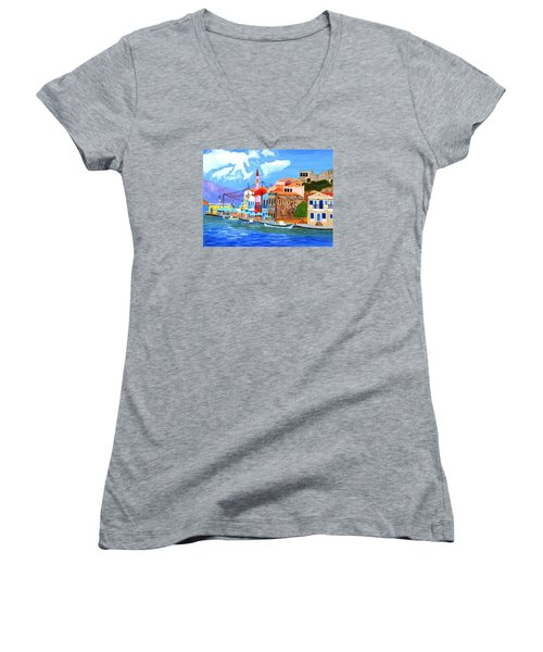 Women's V-Neck T-Shirt (Junior Cut) featuring the painting Greek Coast by Magdalena Frohnsdorff