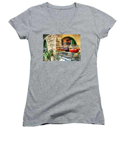 Greek Isle Restaurant Still Life Women's V-Neck T-Shirt (Junior Cut) by Mitchell R Grosky