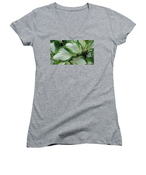 Green And White Women's V-Neck