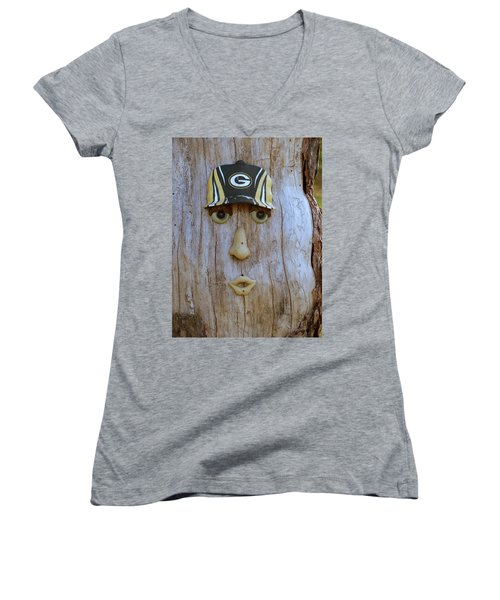 Green Bay Packer Humor Women's V-Neck T-Shirt (Junior Cut) by Kay Novy