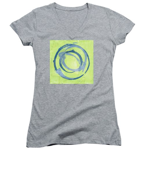 Green Blue Women's V-Neck T-Shirt (Junior Cut)