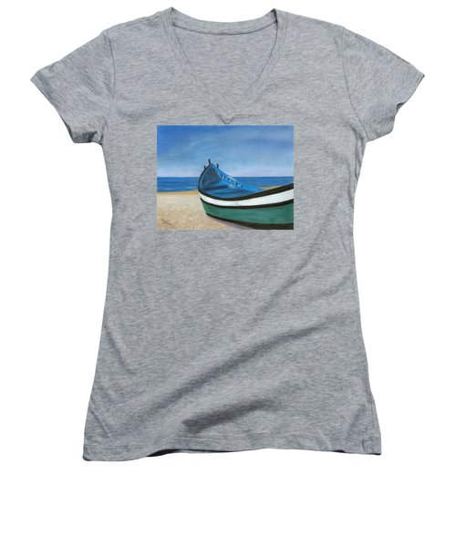 Women's V-Neck T-Shirt (Junior Cut) featuring the painting Green Boat Blue Skies by Arlene Crafton