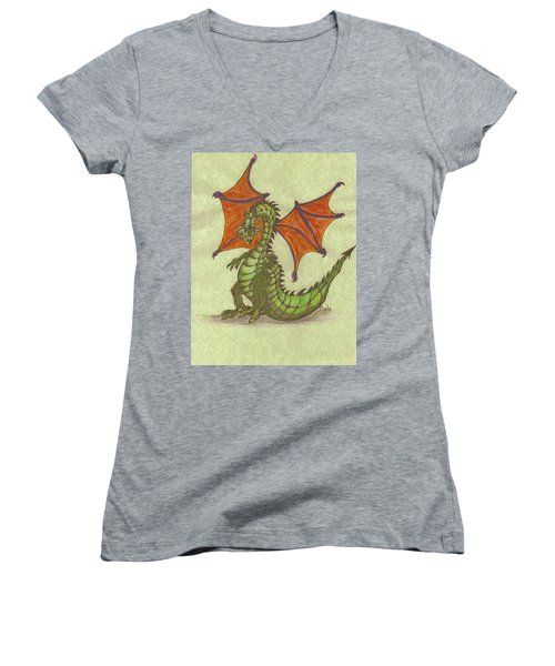 Green Dragon Women's V-Neck T-Shirt (Junior Cut)